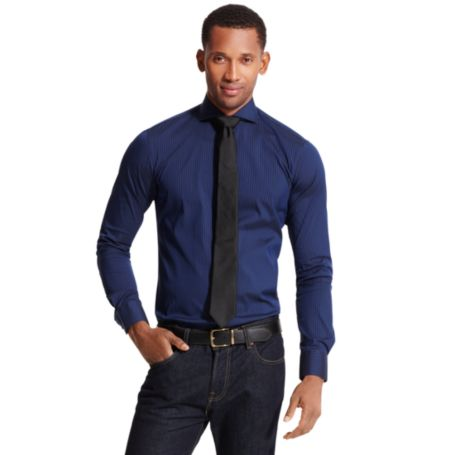 Image for TONAL STRIPE DRESS SHIRT from Tommy Hilfiger USA