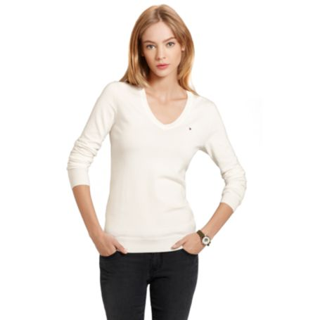 Image for IVY V NECK COTTON SWEATER from Tommy Hilfiger USA