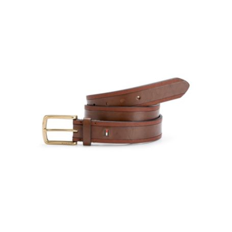 Image for BLACK LEATHER STITCHING DETAIL CASUAL BELT from Tommy Hilfiger USA