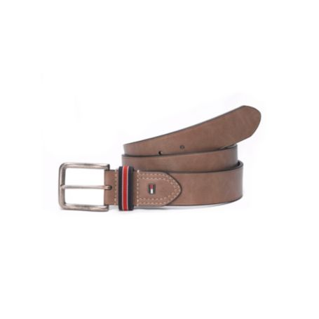 Image for LEATHER BELT WITH STRIPE BUCKLE from Tommy Hilfiger USA