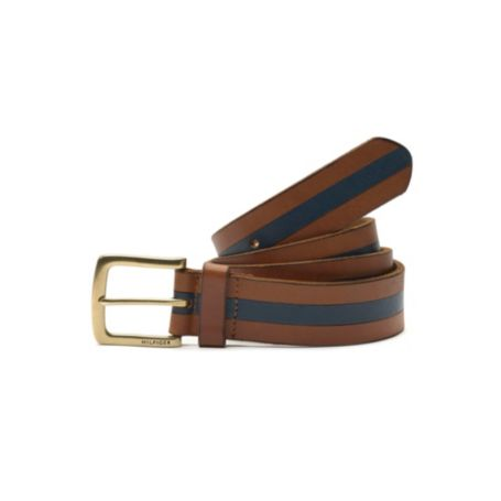 Image for BROWN LEATHER BELT WITH BLUE STRIPE DETAIL from Tommy Hilfiger USA