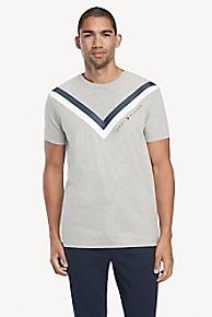 타미 힐피거 Tommy Hilfiger Chevron Stripe T-Shirt,GRAY HEATHER