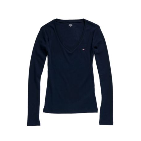 Image for FAVORITE LONG SLEEVE V NECK TEE from Tommy Hilfiger USA