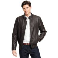FAUX LEATHER LATCH COLLAR BOMBER $195.00
