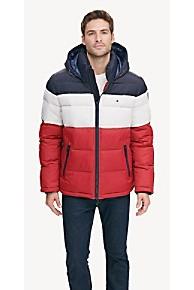 타미 힐피거 Tommy Hilfiger Tommy Essentials Hooded Puffer Jacket,BLUE/WHITE/RED