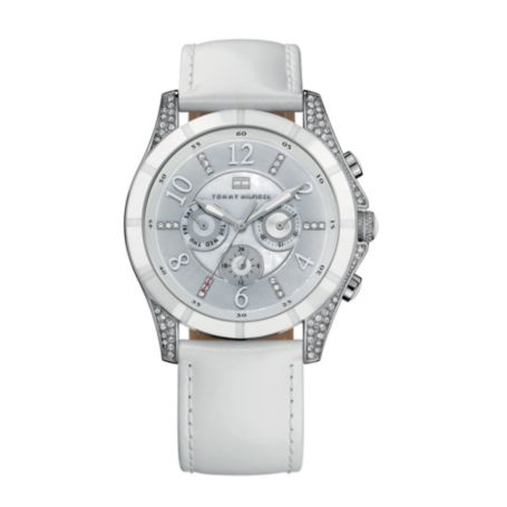 Image for WHITE LEATHER STRAP WATCH WITH CRYSTAL DETAILS from Tommy Hilfiger USA