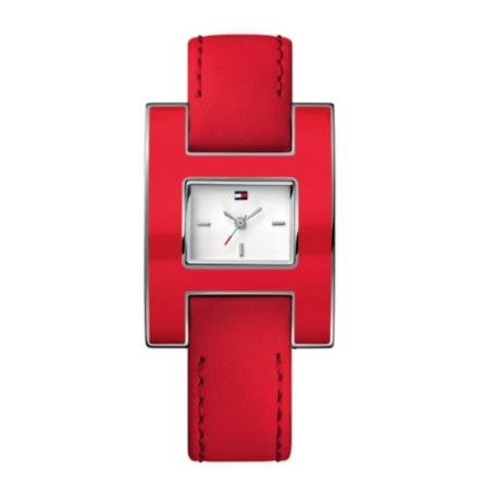Image for RED LEATHER STRAP WATCH WITH STAINLESS STEEL CASE AND ENAMEL BEZEL from Tommy Hilfiger USA