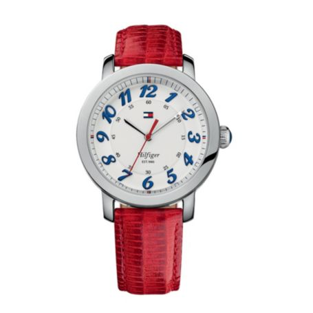 Image for RED LEATHER STRAP WATCH from Tommy Hilfiger USA