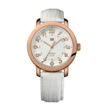 Image for ROSE GOLD PLATED DAIL WITH WHITE LEATHER STRAP WATCH from Tommy Hilfiger USA