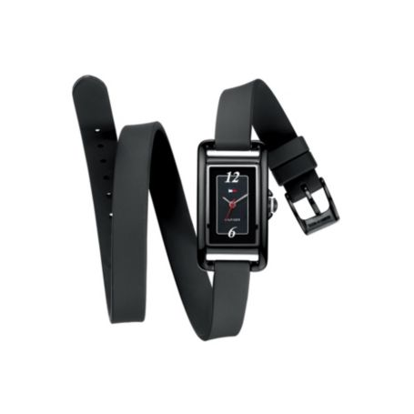 Image for BLACK SILICON DOUBLE WRAP WATCH from Tommy Hilfiger USA