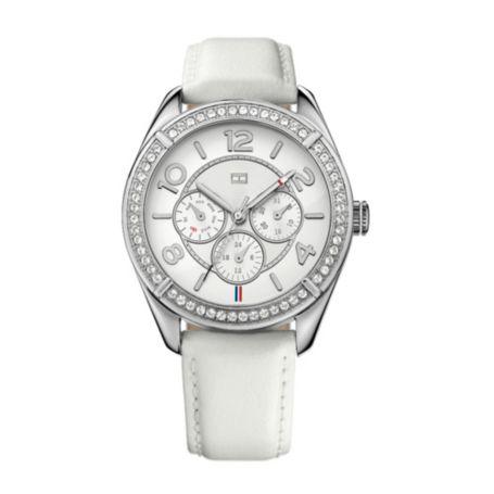 Image for WHITE LEATHER STRAP CRYSTAL DETAIL WATCH from Tommy Hilfiger USA