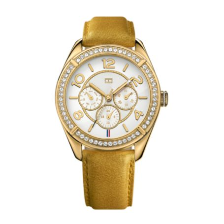 Image for GOLD LEATHER STRAP CRYSTAL DETAIL WATCH from Tommy Hilfiger USA