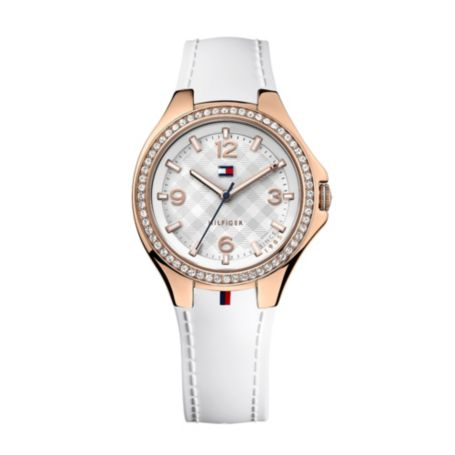 Image for WHITE WITH ROSE GOLD PLATE SILICON WATCH from Tommy Hilfiger USA