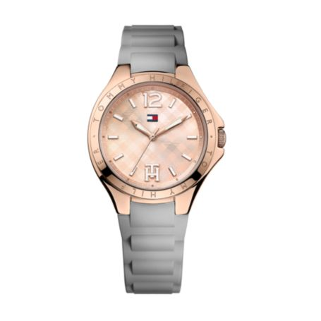 Image for GREY SILICON STRAP ROSE GOLD FACE WATCH from Tommy Hilfiger USA