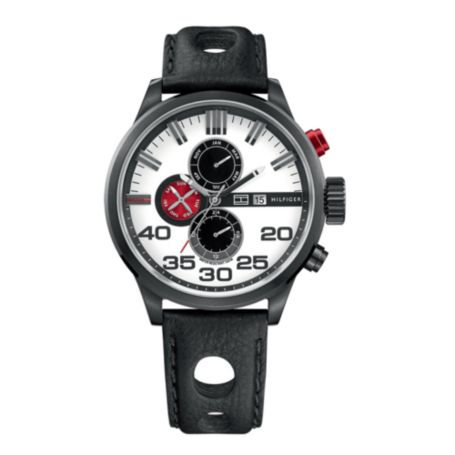 Image for BLACK LEATHER STRAP WATCH from Tommy Hilfiger USA