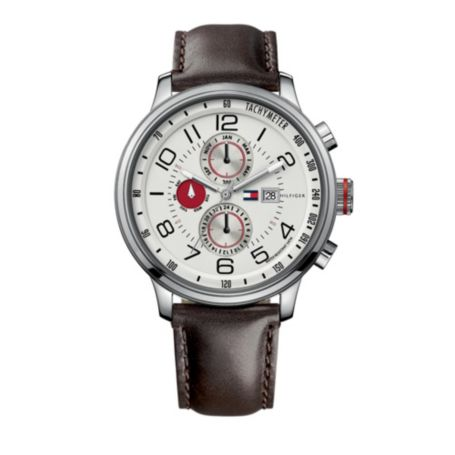 Image for MEN'S CLASSIC BROWN LEATHER STRAP WATCH from Tommy Hilfiger USA