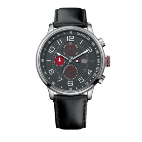 Image for MEN'S CLASSIC BLACK LEATHER STRAP WATCH from Tommy Hilfiger USA