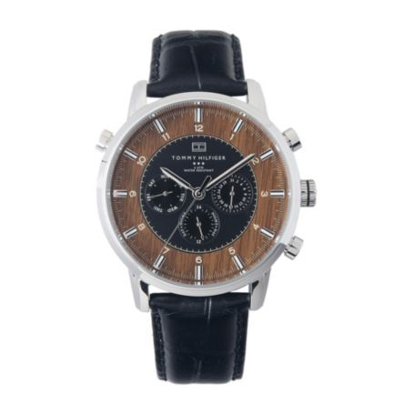 Image for MENS BLACK LEATHER STRAP WATCH from Tommy Hilfiger USA