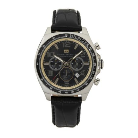 Image for BLACK DIAL BLACK LEATHER STRAP WATCH from Tommy Hilfiger USA