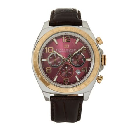 Image for GOLD DIAL BROWN LEATHER STRAP WATCH from Tommy Hilfiger USA