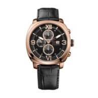 ROSE GOLD BLACK LEATHER STRAP WATCH $165.00