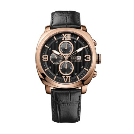 Image for ROSE GOLD BLACK LEATHER STRAP WATCH from Tommy Hilfiger USA