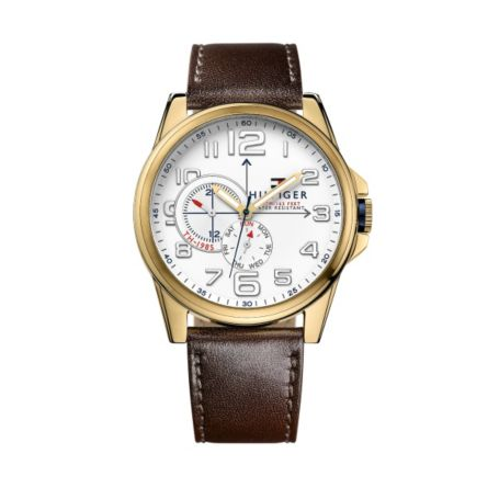 Image for BROWN LEATHER STRAP WITH GOLD TRIM DETAIL from Tommy Hilfiger USA
