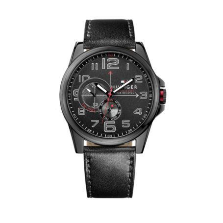 Image for BLACK LEATHER STRAP WITH BLACK TRIM DETAIL from Tommy Hilfiger USA