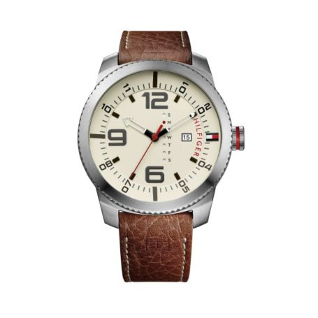 Image for CROC LEATHER BROWN STRAP WITH SILVER DETAIL from Tommy Hilfiger USA