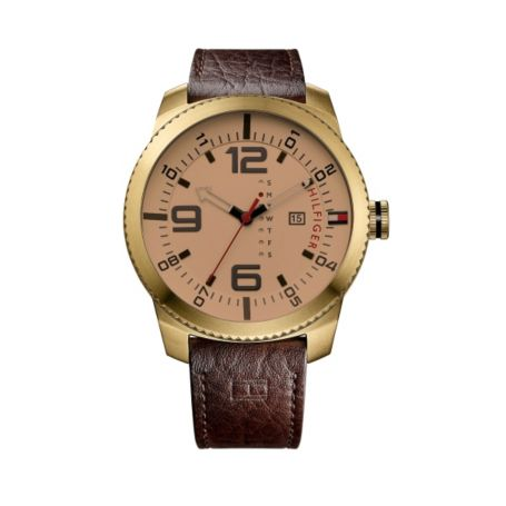 Image for CROC LEATHER BROWN STRAP WITH ROSE GOLD DETAIL from Tommy Hilfiger USA