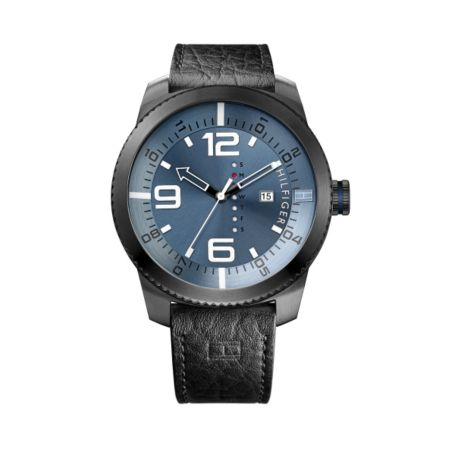Image for CROC LEATHER BLACK STRAP WITH BLUE DETAIL from Tommy Hilfiger USA