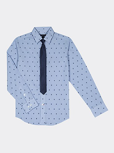 타미 힐피거 Tommy Hilfiger TH Kids H-Print Shirt,BLUE