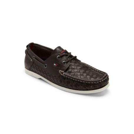 Image for WOVEN LEATHER BOAT SHOE from Tommy Hilfiger USA
