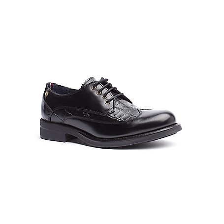 Tommy Hilfiger Croc-Embossed Leather Shoes - Black - 38 Tommy Hilfiger Women's Shoe. We've Taken The Classic Oxford And Given Them An Exptic Twist With Croc-Embossed Details. Styled From Premium Leather With A Padded Footbed-So They Feel As Good As They Look.  Oxford Silhouette In Leather With Wingtip Detail. Cushioned Insole. 1'' Heel. Leather Cleaner. Imported.