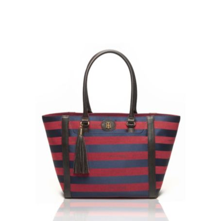 Image for RUGBY STRIPE JACQUARD TOTE from Tommy Hilfiger USA