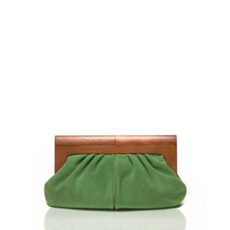Image for WOOD HANDLE SUEDE CLUTCH from Tommy Hilfiger USA