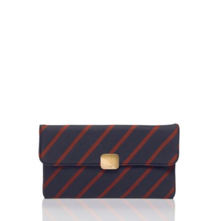 Image for TIE SILK STRIPE CLUTCH WITH CHAIN from Tommy Hilfiger USA