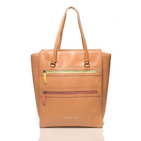 Image for LEATHER ZIP SQUARE TOTE from Tommy Hilfiger USA