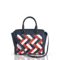 LEATHER LARGE WOVEN SATCHEL $319.99