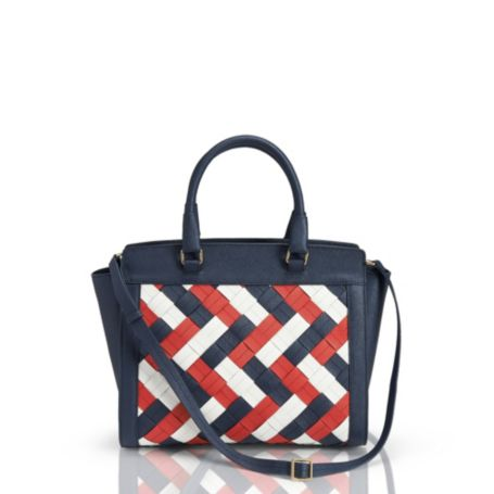 Image for LEATHER LARGE WOVEN SATCHEL from Tommy Hilfiger USA