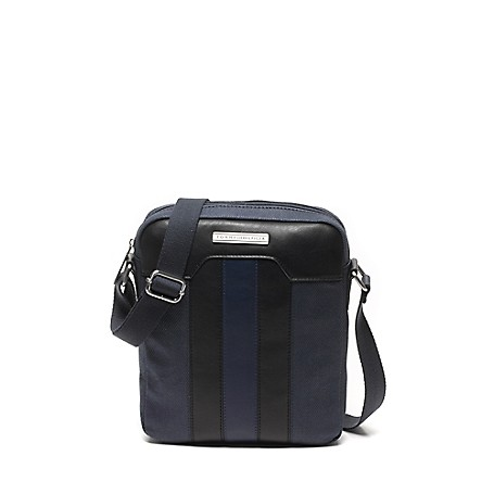 Tommy Hilfiger T-Stripe Camera Bag - Baltic - Os Tommy Hilfiger Men's Bag. Keep The Toting Easy-Our Lightweight Camera Bag Has Ample Room For Your Daily Necessities, Including A Handy Internal Pocket To Stow Your Keys And Wallet. Handsomely Distinguished By A Double T-Stripe In Contrast Fabric. Camera Bag Silhouette In Cotton And Synthetic Fabric With Metal Hardware. 11'' (H) 9'' (L) 2'' (W) Zip Closure, Interior Pocket, Adjustable Shoulder Strap. Spot Clean. Imported.