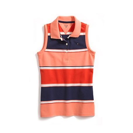 Tommy Hilfiger Sleeveless Stripe Polo - Blue - L