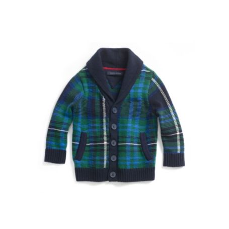 Image for HOLIDAY PLAID SHAWL SWEATER from Tommy Hilfiger USA