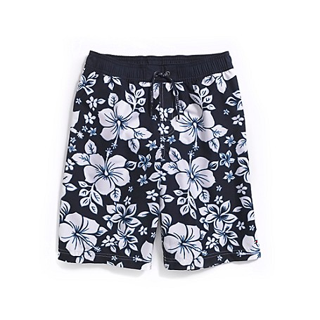 Tommy Hilfiger Fashion Trunk Tommy Hilfiger Big Boys' Swim. For Budding Surfer Dudes, Our Hawaiian-Inspired Board Shorts Feature An Allover Hibiscus Print So He'Ll Fit Right In With The Seasoned Pros. Styled From Our Signature Quick-Dry Fabric That'S Comfortable Wet Or Dry. &Nbsp;&Nbsp; 100% Cotton. Elastic Waistband With Drawstring, Back Pocket, Mesh Liner. Machine Washable. Imported.