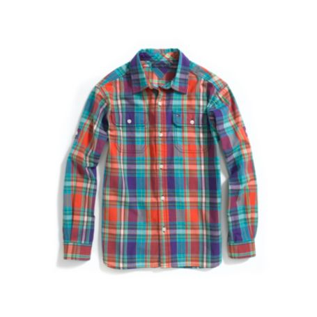 Image for ROLL-SLEEVE PLAID CAMP SHIRT from Tommy Hilfiger USA