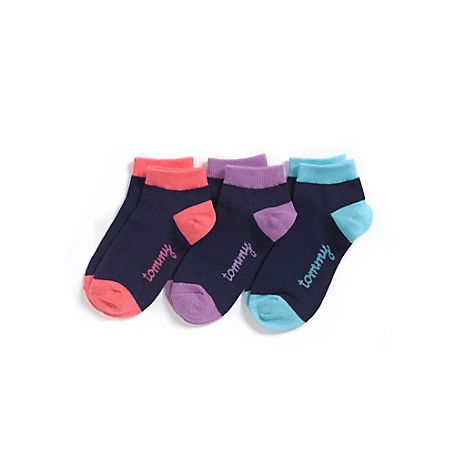 Tommy Hilfiger Sports Socks Tommy Hilfiger Big Girls' Socks. A Trio Of Our Colorful Signature Socks, Cut Low To Stay Hidden In Sneakers. 80% Cotton, 18% Nylon, 2% Elastane. Ribbed Cuff, Signature On Side. Machine Washable. Imported.