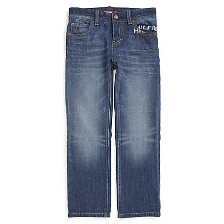 Tommy Hilfiger Faded Straight Jeans - Miles Tommy Hilfiger Big Boys' Jean. Featuring Internal Adjustable Waist Tabs For A Perfect Fit From The Start With Room To Grow.• 100% Cotton. • Internal Adjustable Waist Tabs.• Machine Washable. • Imported.