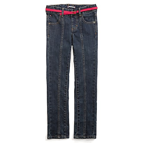 Tommy Hilfiger Final Sale- Skinny Jeans With Neon  Belt - Kay Wash Tommy Hilfiger Big Girls' Jean.• Outlet Exclusive Style.• 100% Cotton.• Internal Adjustable Waist Tabs.• Machine Washable.• Imported.