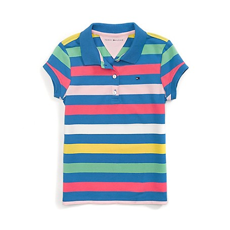 Tommy Hilfiger Stripe Polo - French Blue/Multi Tommy Hilfiger Big Girls' Polo.•Outlet Exclusive Style.•98% Cotton, 2% Elastane. •Machine Washable.•Imported.