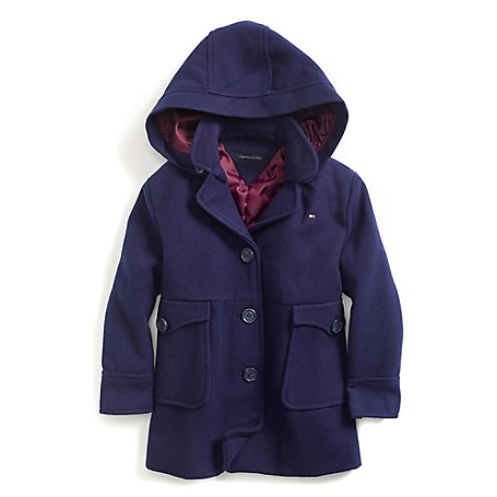 Tommy Hilfiger Final Sale- Fashion Coat - Crown Navy Tommy Hilfiger Little Girls' Coat.•Outlet Exclusive Style.•88% Synthetic, 10% Viscose, 2% Elastane. •Machine Washable.•Imported.